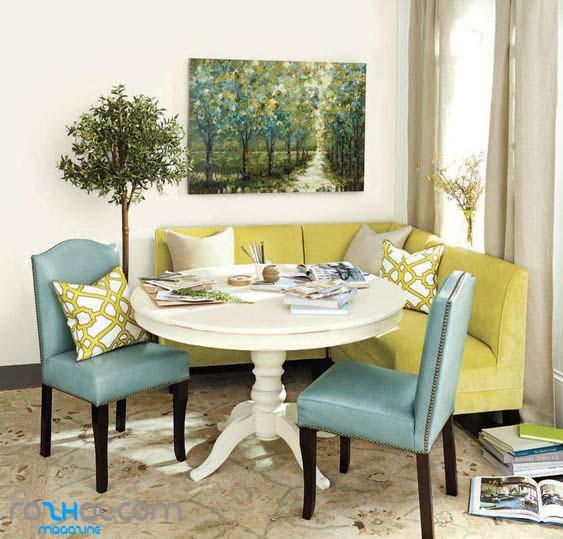 ترکیب میز نهار خوری گرد و مبلمان کنجی